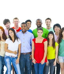 ethnically diverse group of twenty young adults in casual clothing on white background