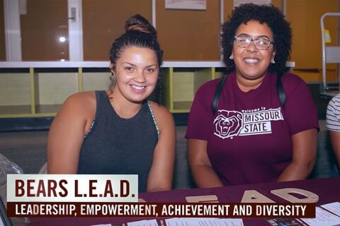 two female university students promote leadership, empowerment, achievement and diversity